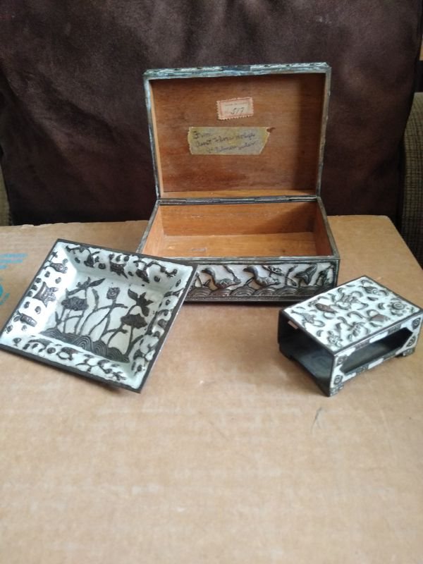 brass and enamel made in China Cigarette case ashtray and matchbox holder