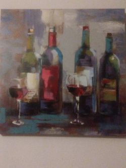 Wine Themed Canvas. Blue 24'hx24'w Red 35'hx12'w. Good Condition. Asking $25 For Both. Pick Up In Fresno Off Of Shields And Hughes for Sale in Fresno,  CA