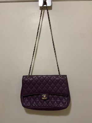 Nice Quilted Flap Handbag Purple Leather Good Looking for Sale in Smoke Rise, GA