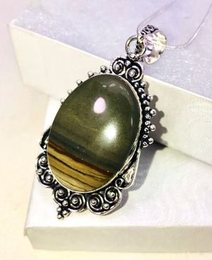 Natural ombré striped Jasper large oval stone & .925 stamped sterling silver embellished necklace NEW! for Sale in Carrollton, TX
