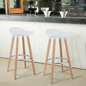 Set of 2 ABS Bar Stool with Wooden Legs for Sale in Bakersfield, CA