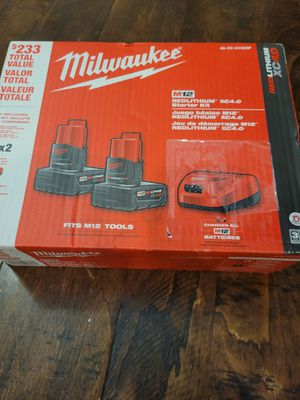 Milwaukee M12 12-Volt Lithium-Ion Starter Kit with Two 4.0 Ah Battery Packs and Charger for Sale in Elk Grove, CA