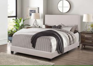 Linen Fabric Bed Frame in Khaki Color/ TWIN Size BOX SPRING REQUIRED for Sale in San Dimas, CA