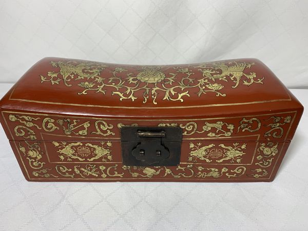 Antique Chinese Leather Wood Pillow Box Dragons Flowers
