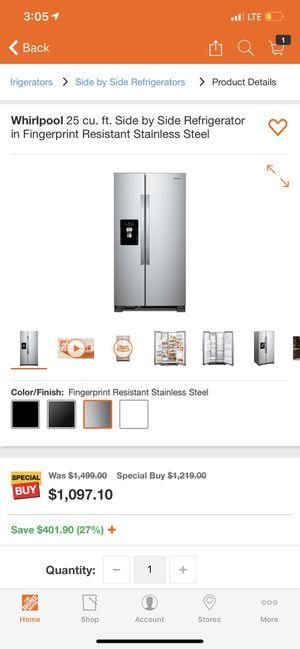 Refrigerator Whirpool 25 cu dt for Sale in Bradenton, FL