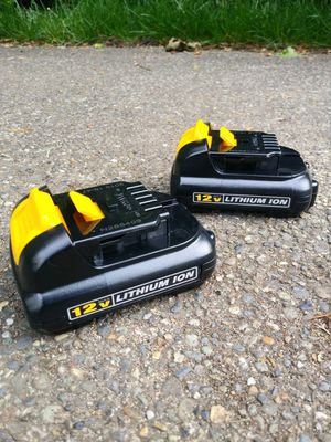 TWO DeWalt 12 Volt Batteries for Sale in Tacoma, WA