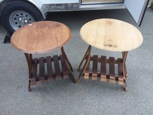 2 tables made entirely from wine barrels with wine and stemware storage underneath for Sale in Tempe, AZ