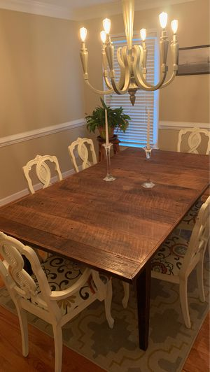 7' Handcrafted reclaimed wood table and 6 chairs for Sale in Lynchburg, VA