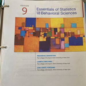 Essential Of Statistics For The Behavior Science Textbook Edition 9 for Sale in Norwalk, CA