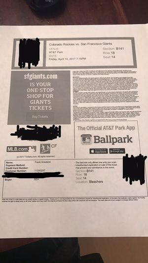 1 ticket to Fridays SF Giants game 4/14/17 for Sale in San Francisco, CA