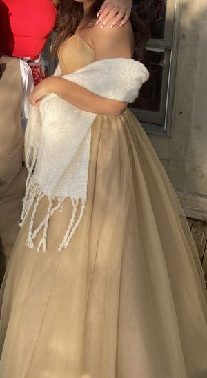 Young champagne color Gown size 1/2 for Sale in Chesterfield, VA