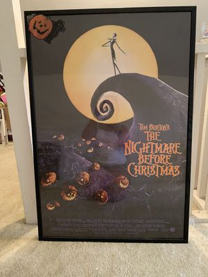 16 x20 Framed Nightmare Before Christmas Poster for Sale in Toms River, NJ