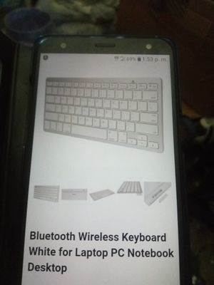 BLUETOOTH WIRELESS KEYBOARD WHITE- SIVER FOR LAPTOP PC NOTEBOOK DESKTOP for Sale in Escondido, CA