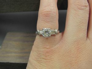 Size 5.75 Sterling Silver Rustic Cubic Zirconia Stone Band Ring Vintage Statement Engagement Wedding Promise Anniversary Bridal Cocktail for Sale in Lynnwood, WA