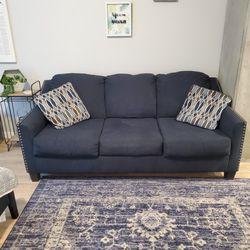 Creeal Heights Ink Queen Sleeper Sofa Couch Blue Fabric Nailhead Trim Modern Geometric Pillows for Sale in Aurora,  CO