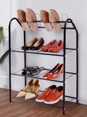 New in box 25x10x36 inches tall steel shoe organizer 4 tier storage metal stand rack for Sale in San Dimas, CA