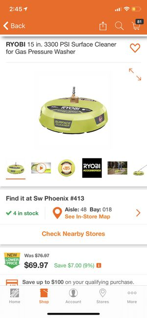 RYOBI 15 in. 3300 PSI Surface Cleaner for Gas Pressure Washer for Sale in Phoenix, AZ