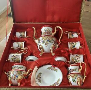 """Set of 6 Red White Gold Porcelain """"Espresso"""" Coffee Demitasse Cups Saucers & Pot for Sale in McLean, VA"""