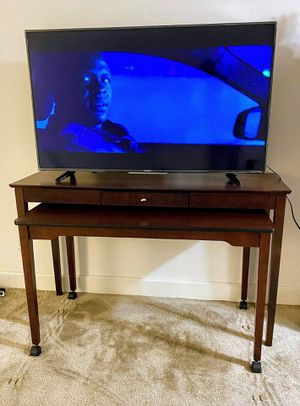Moving out sale! Large Console table, mobile desk and round accent table for Sale in Alexandria, VA