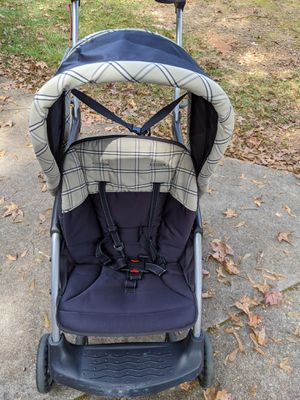 Baby trend sit and stand double stroller navy blue and cream for Sale in Piedmont, SC