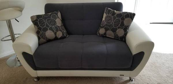 Grey & White Sofa, Love seat & Chair set ( Leather & micro Fabric)