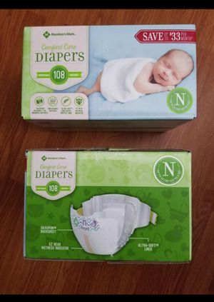 NEW Childrens Baby Diaper in Newborn infant size 108 pack / Size N for Sale in Oceanside, CA