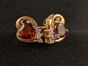10KT Gold Women's Genuine Garnet Earrings with Diamonds for Sale in Temecula, CA