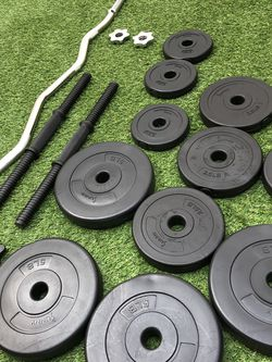 Gym Equipment Dumbell Weights And Curl Bar for Sale in Pico Rivera,  CA