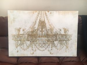 White and Gold Chandelier Painting 1.5in Canvas (36x24) for Sale in Austin, TX