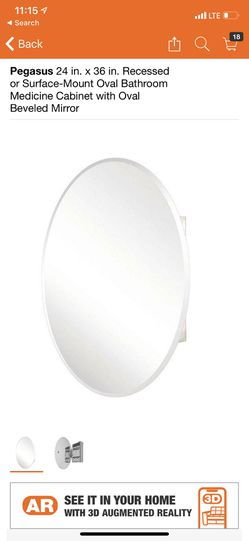 Pegasus 24 in. x 36 in. Recessed or Surface-Mount Oval Bathroom Medicine Cabinet with Oval Beveled Mirror for Sale in South El Monte,  CA