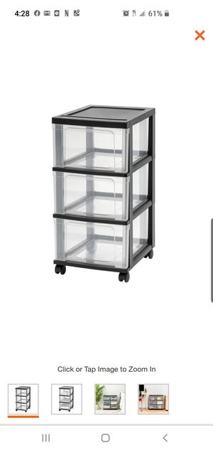 3- Drawer Plastic Wheeled Storage Cart Black for Sale in El Monte, CA