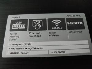 Acer Aspire 3 (Ryzen 7 2700U) for Sale in Johnstown, NY