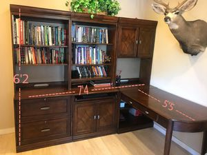 Desk + Bookshelves + Credenza with lockable file cabinets for Sale in Tempe, AZ