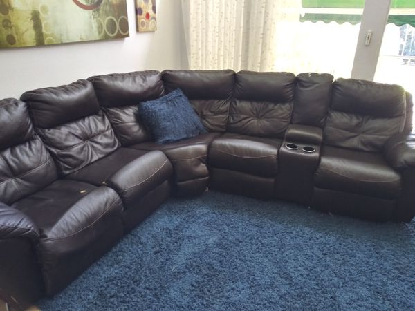 Delivered Leather reclining sectional