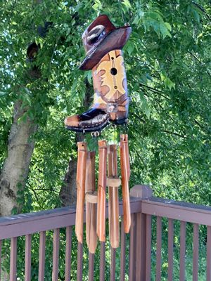 Ranch Style Texan Western Cowboy Hat & Boot Country Music Bamboo Artisan Wind Chime Mobile for Sale in Nashville, TN