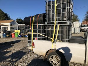 BLACK IBC TOTE TOTES WATER TANK TANKS PLASTIC 275 GALLON DRUM BARREL DRUMS BARRELS STORAGE CONTAINER MOBILE DETAILING DETAIL CAR WASH for Sale in Austell, GA