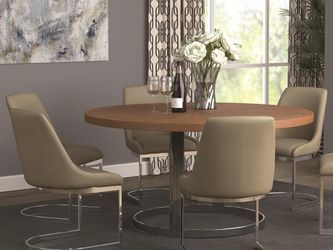 7pc Dining Set in Natural Cherry and Chrome Finish for Sale in Los Angeles,  CA