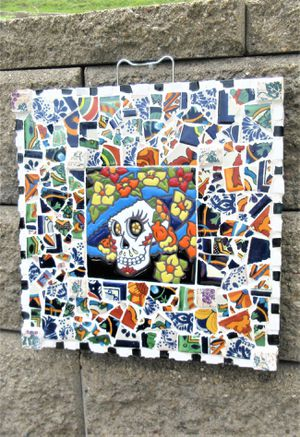 14x14 DAY OF THE DEAD ORIGINAL SIGNED MOSAIC TALAVERA WALL HANGING. TILE MORTAR WOOD. for Sale in Cincinnati, OH