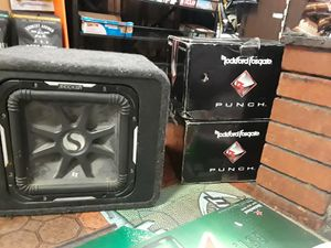 2 rockport fosgate punch 12inch subwoofers not used an L7 kicker 12inch subwoofer in box slightly used for Sale in San Francisco, CA