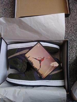 Jordan AJ 1 Mid Basketball Shoes Black/Trooper/Black Size 08.0 for Sale in West Seneca, NY
