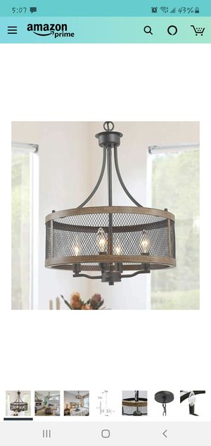 "Farmhouse Chandelier, Vintage pendant lighting, drum hanging light fixture of 4-light oil black & faux wood finish 16"" in diameter for Sale in Malden, MA"