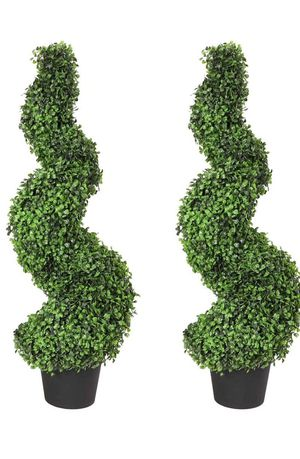 Damomo 3ft (2 Pieces) Topiary Trees Boxwood Artificial Plants Spiral Feaux Plants Potted Fake Plant Green Decorative Indoor or Outdoor (35 Inches). for Sale in Los Angeles, CA