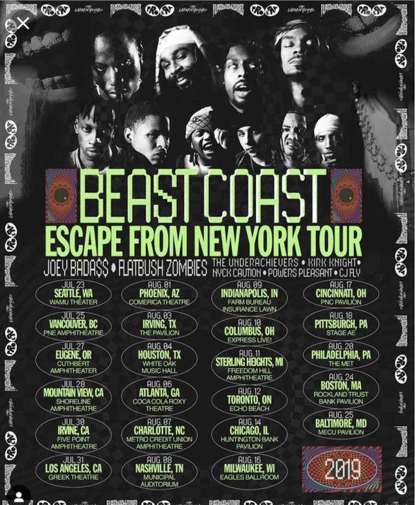 Beast coast philly ticket- Flatbush zombies, Joey bada$$, the underachievers