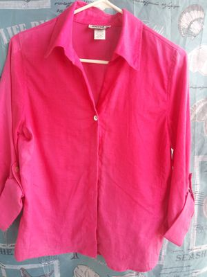 Hot pink button up blouse for Sale in Indialantic, FL