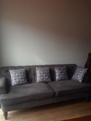 Grey sofa two piec whit 6 pillows for Sale in Springfield, VA