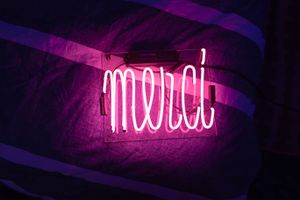 'Merci' Pink Neon Sign for Sale in West Hollywood, CA