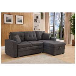 Dark Gray Linen Fabric Pull Out Sectional Sofa Bed With Storage Chaise for Sale in Monterey Park,  CA