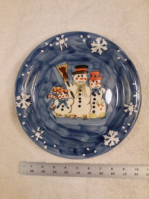 """Tabletops Unlimited Dinner Plate WINTERLAND CHRISTMAS 10.5"""" 3 Snowmen for Sale in Washington, IL"""