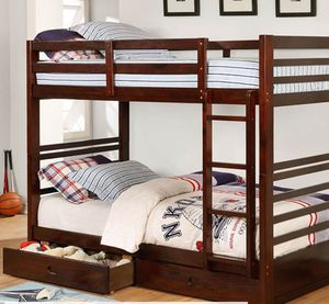 ESPRESSO TWIN OVER TWIN BUNK BED WITH STORAGE FREE DELIVERY for Sale in Las Vegas, NV