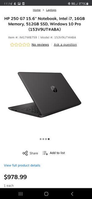 "HP 250 G7 15.6"" Notebook, Intel i7, 16GB Memory, 512GB SSD, Windows 10 Pro 153V9UT#ABA for Sale in Los Angeles, CA"